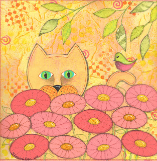 paper quilt, art, paper, quilt, cat, flowers