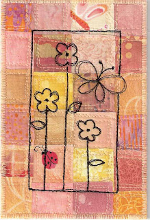 fabric art postcard