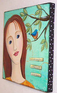 acrylic painting face girl bird canvas art original