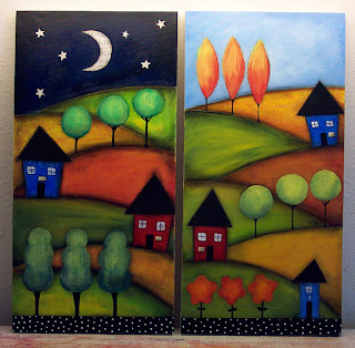 mixed media landscape painting acrylic paper canvas