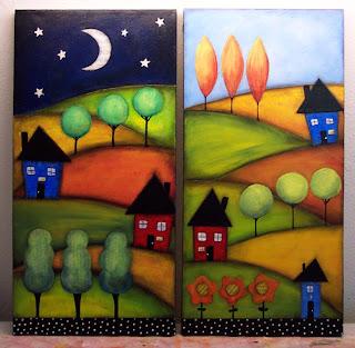 acrylic paint canvas art landscape mixed media