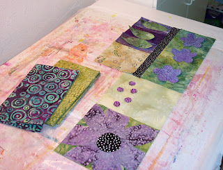 fabric fiber collage table runner quilt art