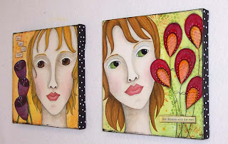 acrylic painting canvas art original girl female
