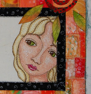 thread painting face girl quilt art