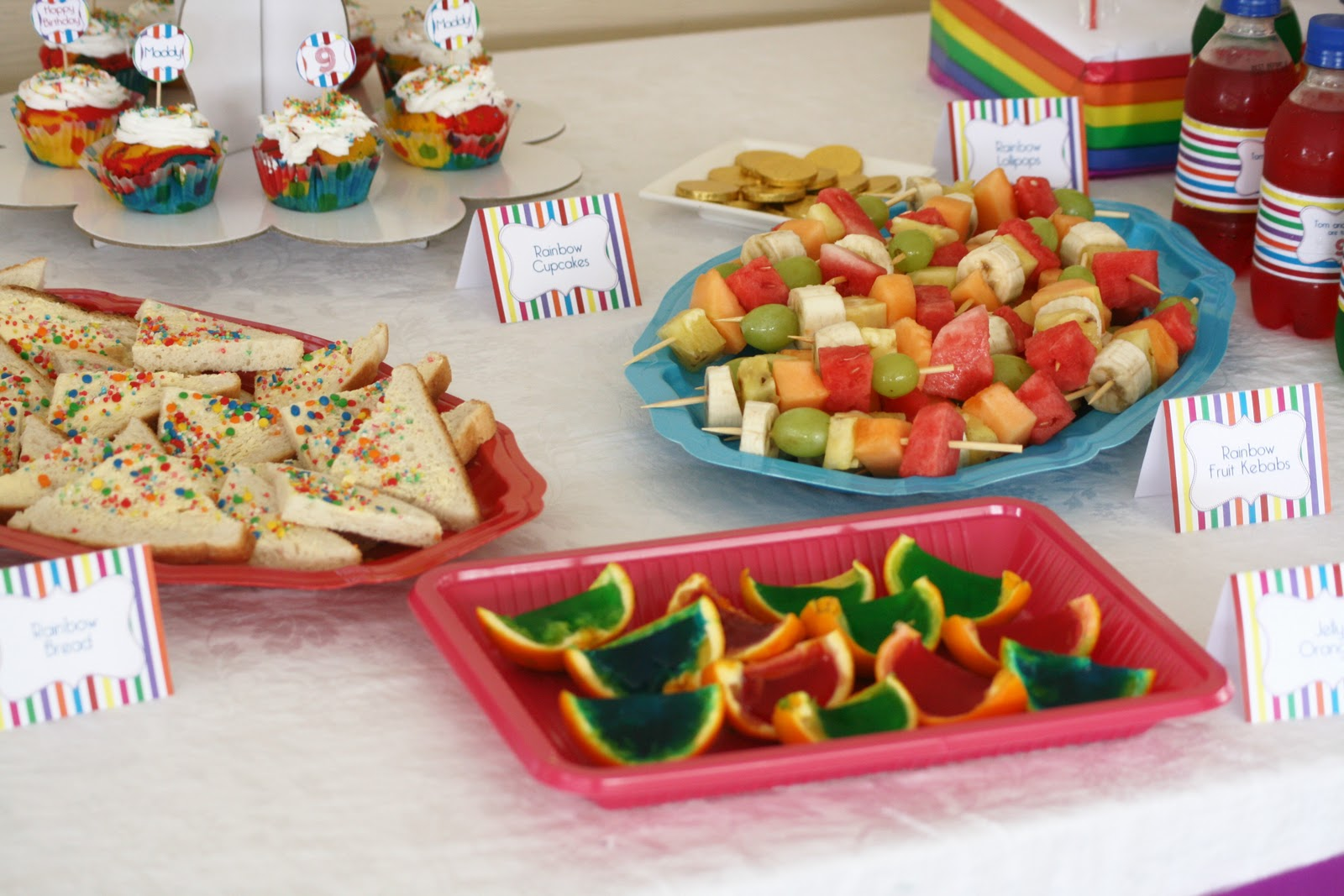 Rainbow coloured disposable platters from Crazy Clarks.