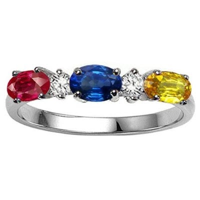 Jewelry gorgeous rings genuine 3 stone and diamond for Walmart jewelry mothers rings