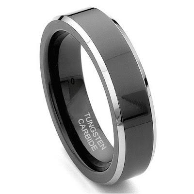 Wedding Rings   on Black Tungsten 6mm Comfort Fit Beveled Wedding Band Ring Size 5 15