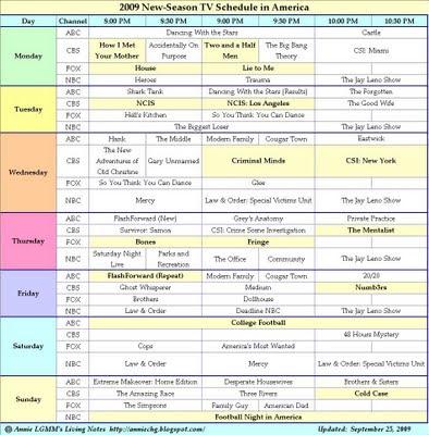 2009 New-Season TV Schedule in America