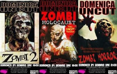 Poster della rassegna con Zombi 2, Zombi Holocaust e Zombi Horror