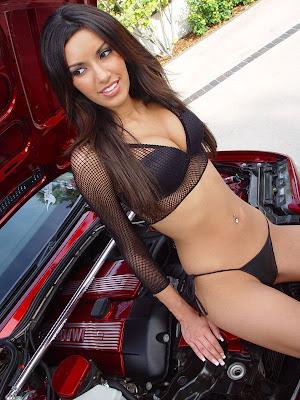 bikini model girl car