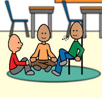 This is a cartoon of three people sitting around talking