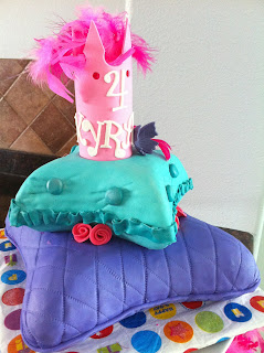Pillow Cake in tiers with a pink crown. Purple, teal blue and pink. Super girly and chic! / by My Sweet Zepol #birthdaycake