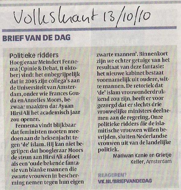 Weblog van Mariwan Kanie: Ingezonden brief Volkskrant.