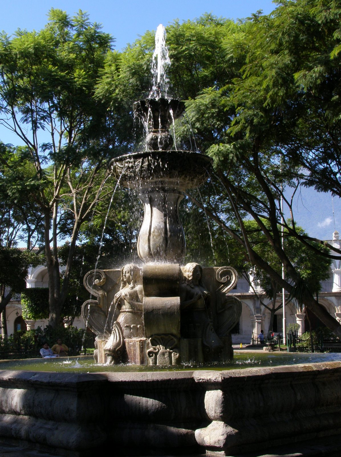 fountain in central park, la antigua guatemala