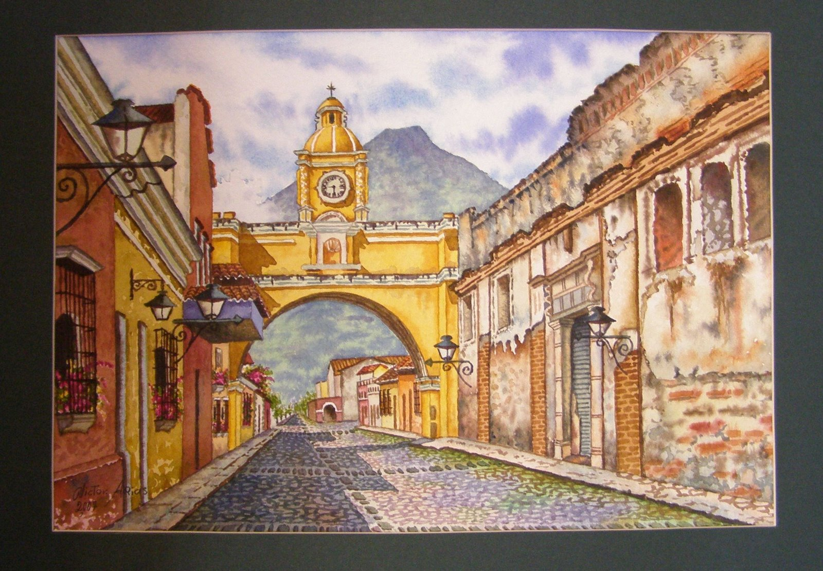 painting, arch of santa catalina, antigua guatemala