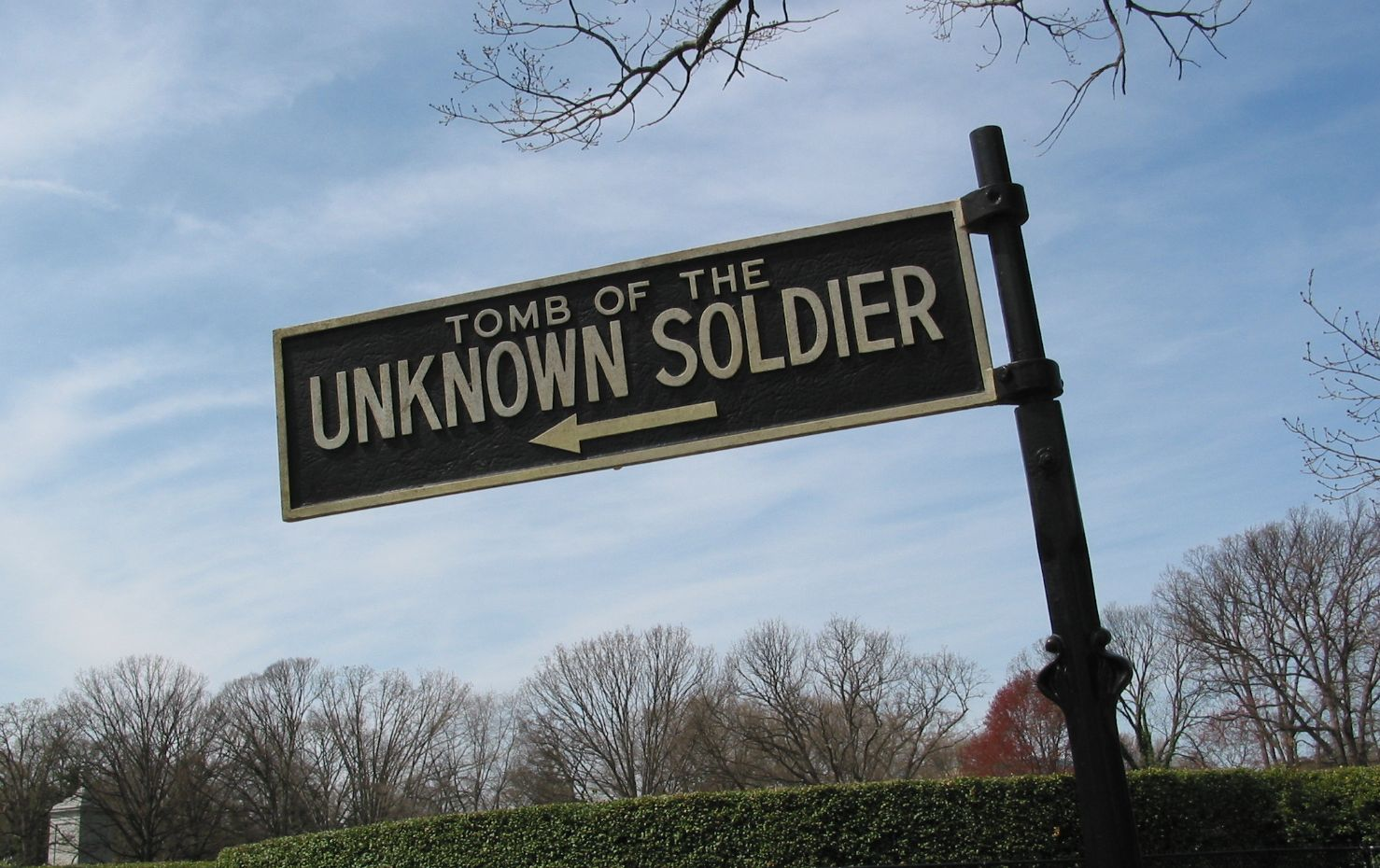 unknown soldier sign, arlington cemetary