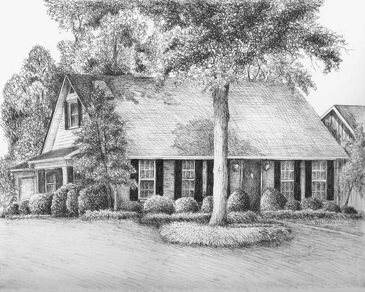 Pen And Ink House Drawing