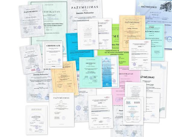 Pažymėjimai-sertifikatai