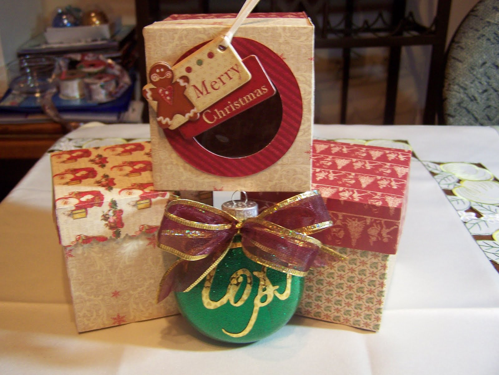 Jenny christmas ornaments and gift boxes