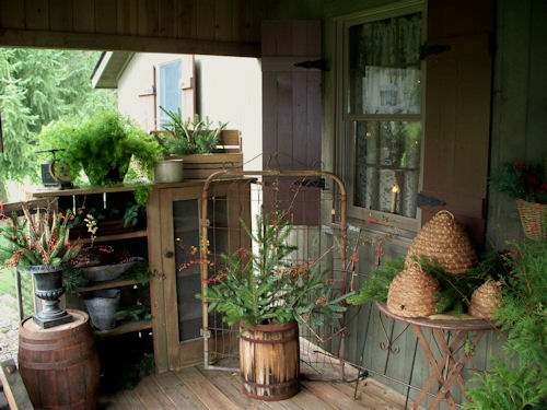 Country cottage primitives shop porch Cottage porch decorating ideas
