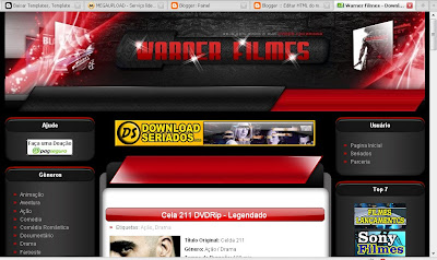 Template blogspot do Warner Filmes