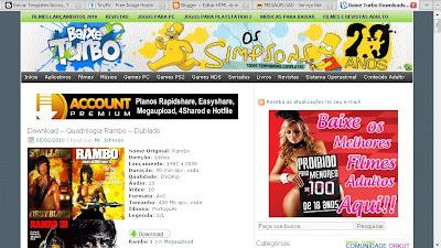 Template BaixeTurbo convertido em Blogger