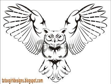 owl tattoo picture black style