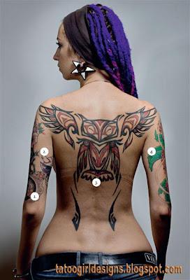owl tattoo lower back sexy girl body