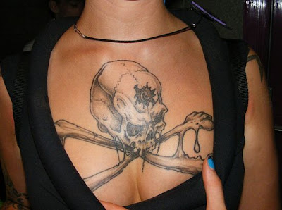 skull breast tattoo style