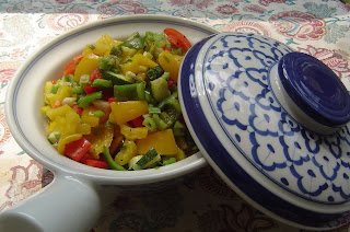 Healthy, Indian, Lightly Cooked Red, Yellow, Green Peppers, Zuchini and Spring Onions