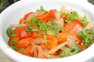 Sauteed Red Pepper, Tomato and Onions