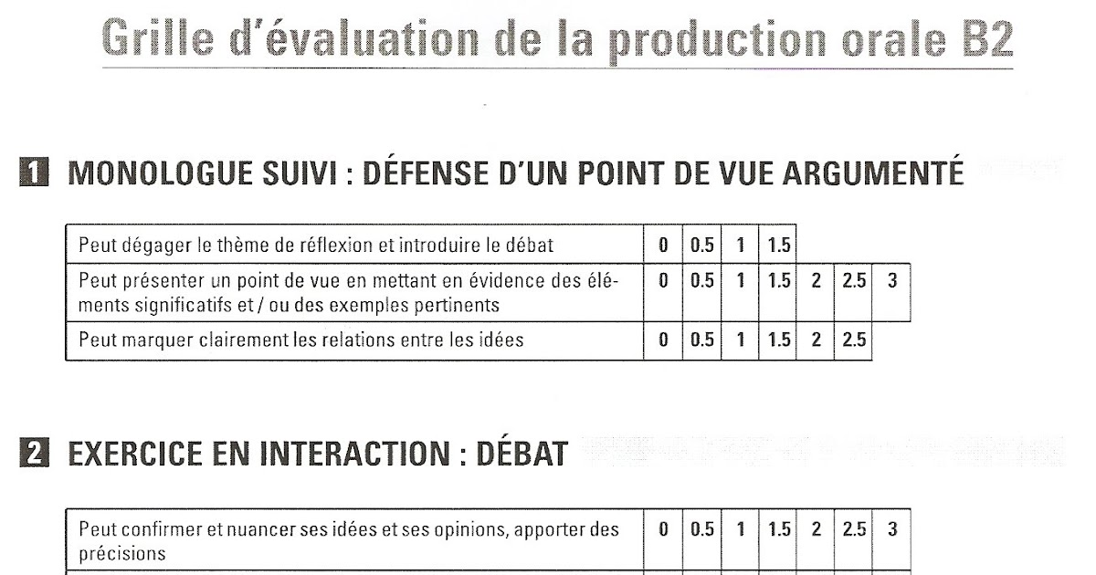 Fran ais langue trang re b2 grille d 39 valuation de la - Grille d evaluation des competences infirmieres ...