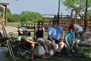 Picture of some of the guys hanging out around the barbeque pits, its Darrell's brother in law, Darrell, Dad and little bro