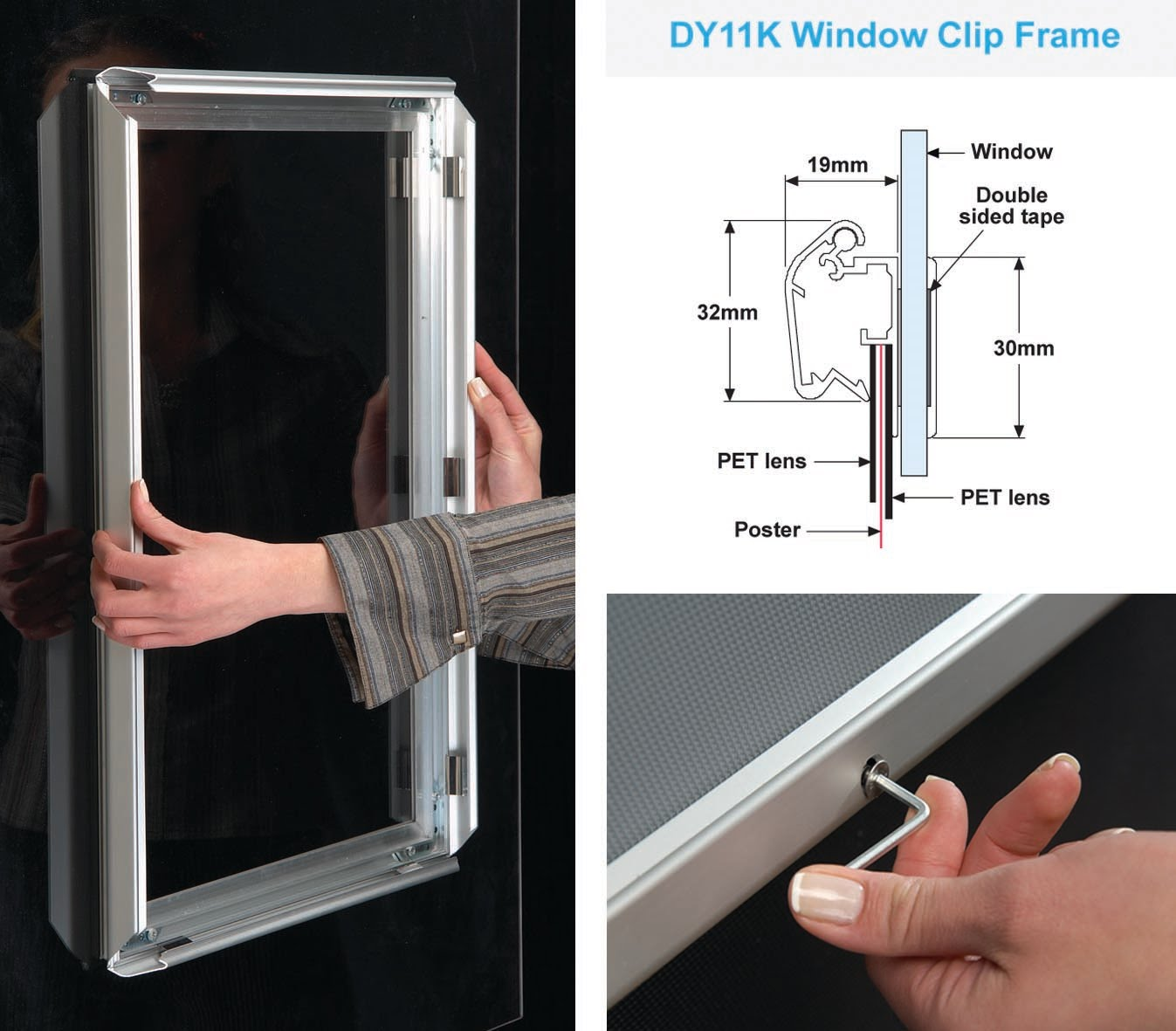 double sided clip frame poster holder that sticks straight to your window