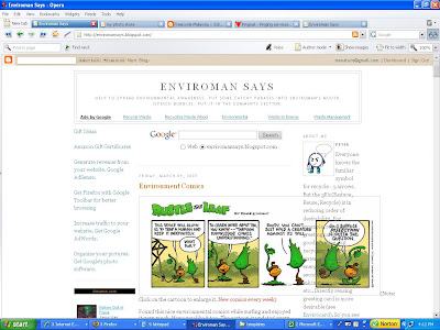 screenshot of Enviroman Says blog with Ramani's New Blogger 3 column template