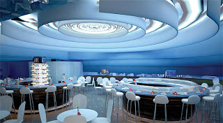 Jet Blue modern blue restaurant