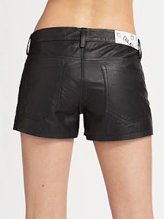 Blank Denim Leather Shorts