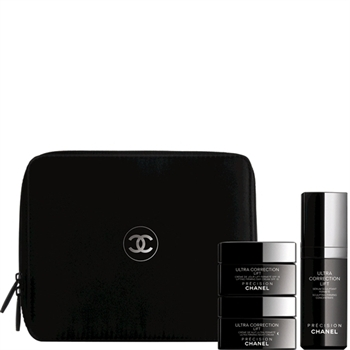The three piece set comes with gorgeous black Chanel logo jars