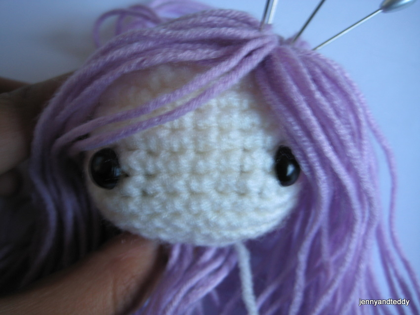 Crochet Hair Doll : Then we sew it on the doll head by used similar color of thread or ...