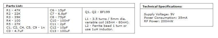 FM Transmitter With TX-200 Part List
