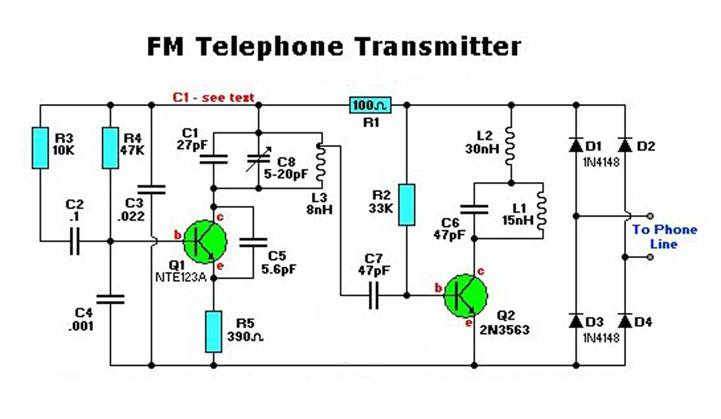 Electronic Fm Telephone Transmitter on cell phone detector circuit