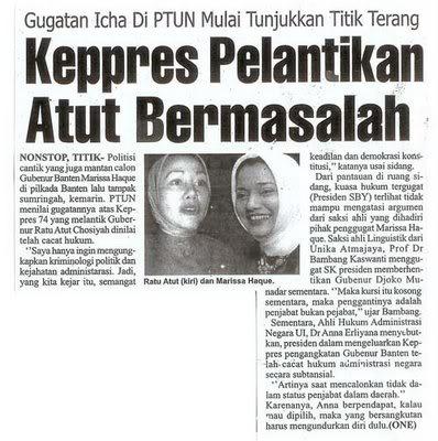 Keppres Bodong Presiden SBY buat YTC Ratu Atut Chosiyah