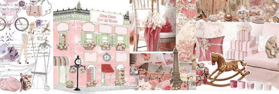 uma casa cor de rosa