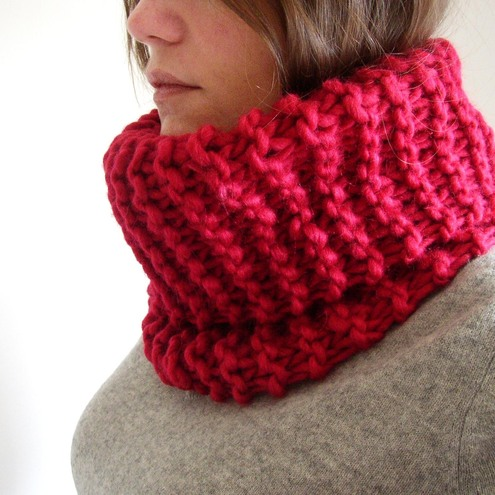 red wool scarf. Red Knitted Cowl Neck Scarf