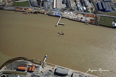 vue aérienne du chantier du pont Bacalan Bastide