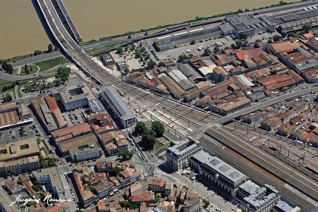 vue aérienne gare Saint Jean à Bordeaux