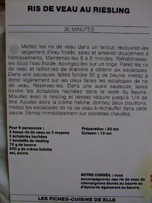 Recipe ris de veau