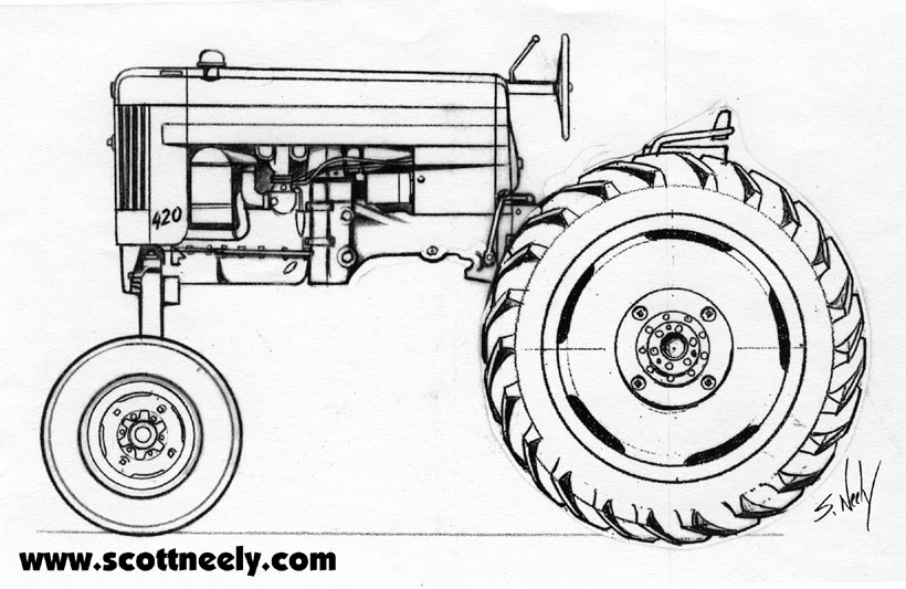 Line Drawing Tractor : Scott neely s scribbles and sketches down on the farm