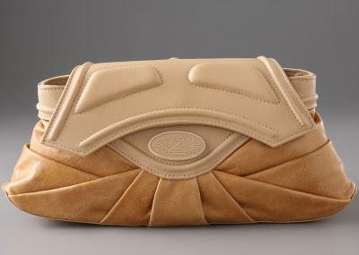 Zac Posen Rose Pleated Leather Clutch