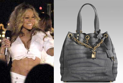 Mariah Carey Yves Saint Laurent Overseas Medium Leather Tote spray-on abs